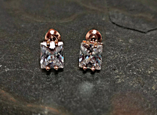Crystal Stud Earrings in Rose Gold Plate Setting