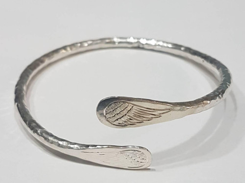 Remembrance Sterling Silver Bracelet W/Double Angel Wings