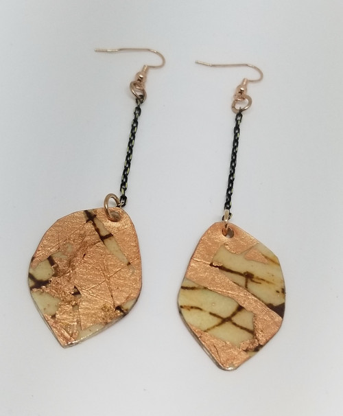 Batik Textile Rust & Rose Gold Earrings