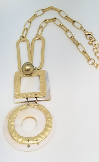 White with Brushed Gold Chain Link Chunky Necklace