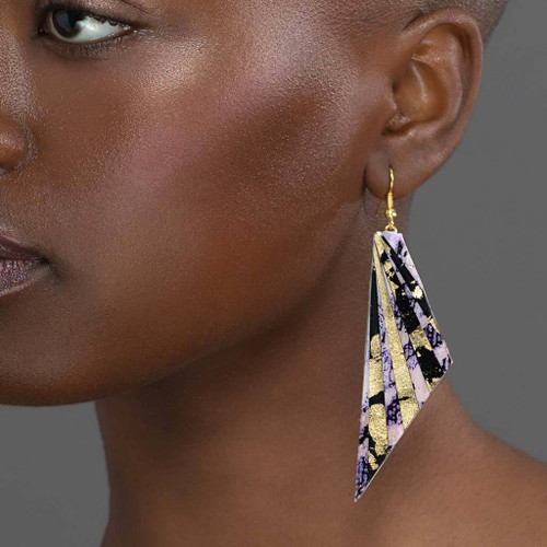 Batik Earrings in Purple/Black and Gold