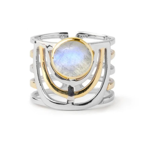 Moonstone Solar Adjustable Sterling Silver/Gold Ring