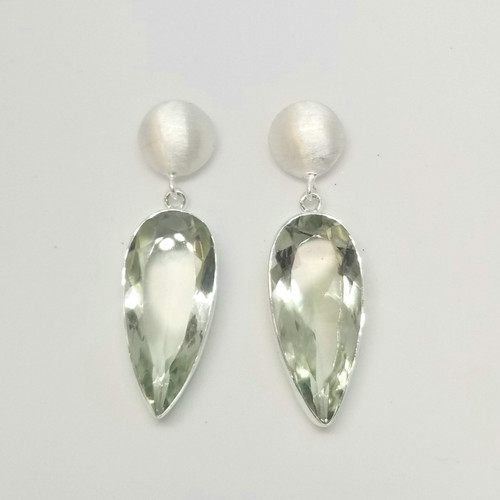 Green Amethyst Sterling Silver Dangle Post Earrings