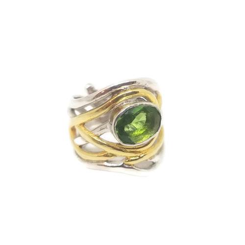 Mayhem Peridot Sterling Silver & Gold Adjustable Ring