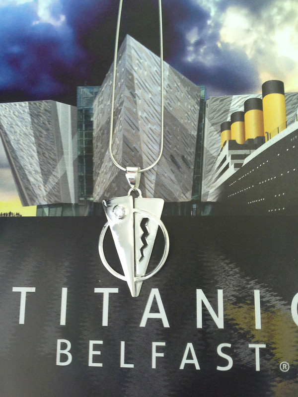 TITANIC Pendant with Cubic Zircon on a Sterling Silver Chain Front view.