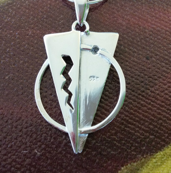TITANIC Pendant with Cubic Zircon on a Sterling Silver Chain Reverse side of pendant.
