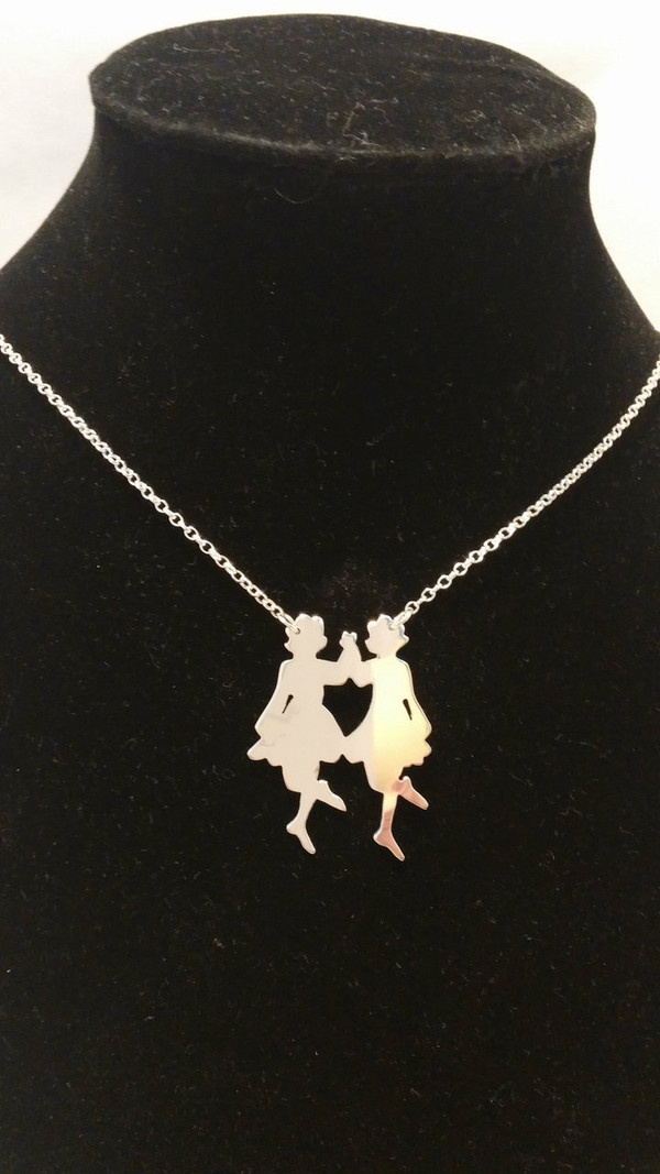 Irish Step Dancers - Group Dance, Double Sterling Silver Pendant & Chain Neck view.