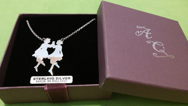 Irish Step Dancers - Group Dance, Double Sterling Silver Pendant & Chain Complete with Gift Box.