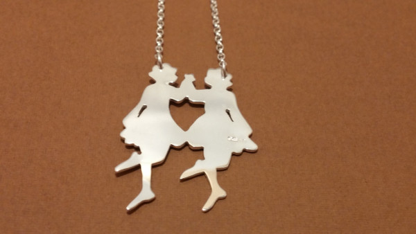 Irish Step Dancers - Group Dance, Double Sterling Silver Pendant & Chain Reverse Side.