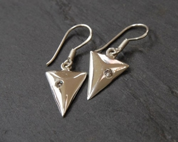 TITANIC Solid Sterling Silver Earrings with Cubic Zircon Front view.