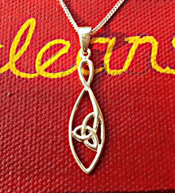 Delicate Sterling Silver Trinity Knot Necklace & Chain Front view.