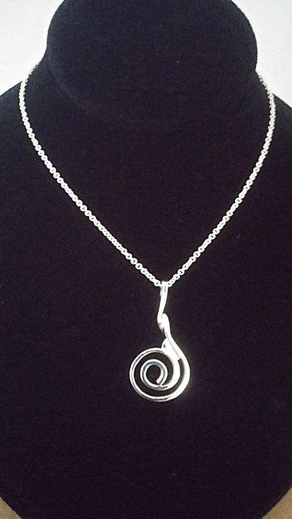 """""""A Sterling Silver"""" Celtic Spiral Pendant & Chain full view."""