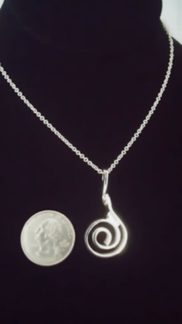 """""""A Sterling Silver"""" Celtic Spiral Pendant & Chain actual size."""