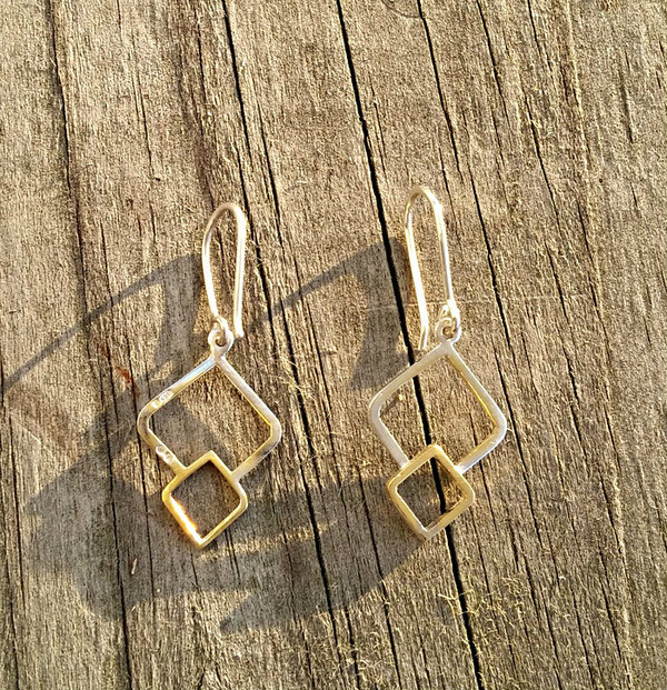 Fusion Sterling Silver & Gold Dangle Earrings Designed By Miriam Wade