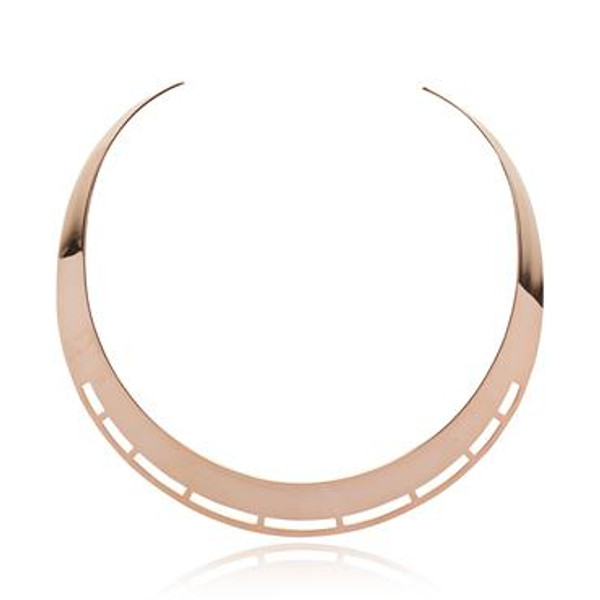 Rose Gold Plate Torc Necklace with Ornamental Cut Out Feature