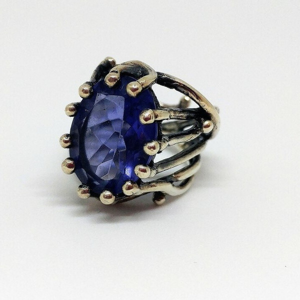 Amythest Sterling Silver Antique Finish Willow Adjustable Ring