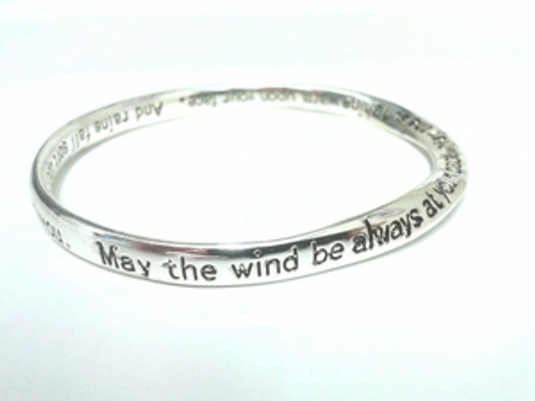 Irish Blessing Bangle Mobius Shaped Silver Plated Bracelet with the entire Irish Blessing Engraved on it