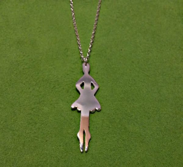 Irish Step Dancers - Solo Female Soft Shoe Sterling Silver Pendant & Chain Close up view.