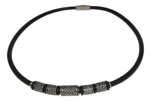 """Unisex - Young Men's Pewter & Rubber 16"""" Necklace"""