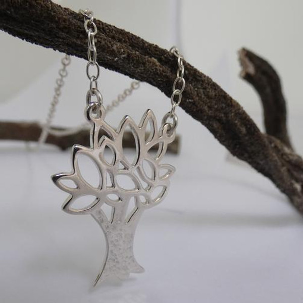 Tree of Knowledge, High Polished & Hammered Sterling Silver Necklace