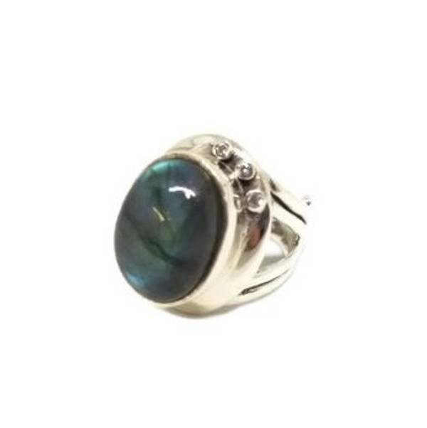 Labradorite Sterling Silver Adjustable Ring With Crystals
