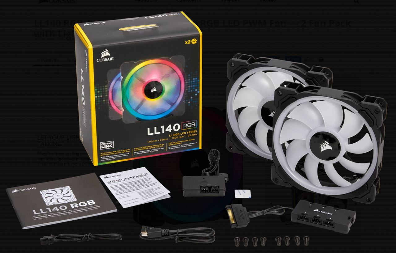 Corsair LL140 RGB, 140mm Dual Light Loop RGB LED PWM Fan, 2 Fan Pack