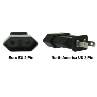 Euro EU to US 2-Pin Power Plug Adapter