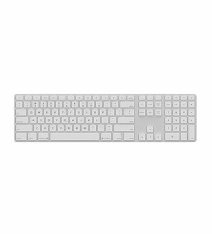 Matias White Wireless Aluminium Keyboard, Mac/Win, Backlit