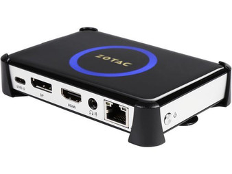 ZOTAC ZBOX-PI332 pico, Intel Atom x5-Z8300 quad core, Intel HD Graphics, 4GB DDR3, 32GB eMMC storage, Gigabit NIC + WiFi + BT 4.0, HDMI+DP, 8channel audio, 2 x USB 3.0, 1 x USB 3.1 Type C, Card Reader, VESA Bracket, 1 x 15W AC Adaptor, Windows 10. Dim: 115.5x76x20.7mm