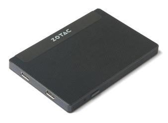 ZOTAC ZBOX-PI225, Intel Celeron N3350 dual core, Intel HD Graphics 500, 4GB DDR3, 32GB eMMC storage,WiFi + BT 4.2, 2 x USB 3.0 Type-C (support USB & Displays. 1xUSB3.0 Type-C to HDMI w/2xUSB Type-A adaptor included), Card Reader, Mouting Bracket, 1 x 15W AC Adaptor, Windows 10. Dim: 95.4x63x8mm