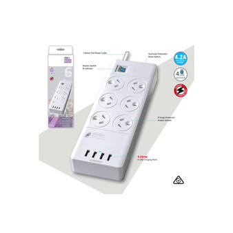 6 Way Surge Protected Power Board With USB Chargers