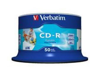 Verbatim CD-R 700MB 50Pk White InkJet 52x