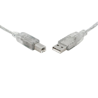 8Ware USB 2.0 Certified Cable A-B 2m Transparent Metal Sheath UL