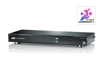 4x4 4K HDMI Matrix. Can be operated through front-panel pushbuttons, I