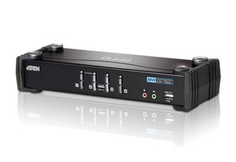 Aten 4 Port USB DVI KVMP Switch with Audio and USB 2.0 Hub - Cables In