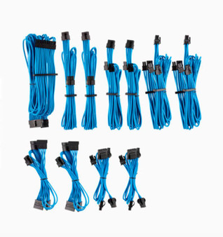 For Corsair PSU - BLUE Premium Individually Sleeved DC Cable Pro Kit,