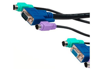 Cabac 1.8m KVM Combo 2X PS2, HD15 Male to Female Cable