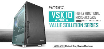 Antec VSK10 Window mATX Case. 2x USB 3.0 Thermally Advanced Builder's