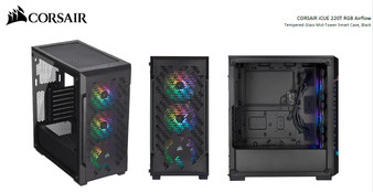 Corsair iCUE 220T RGB Airflow Smart ATX, mATX, Mini-ITX Case - Black.
