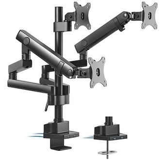 Brateck Triple Monitor Aluminum Slim Pole Held Mechanical Spring Monit