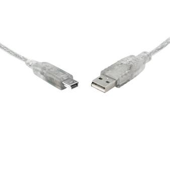 8Ware USB 2.0 Cable 3m A to B 5-pin Mini Transparent Metal Sheath UL A