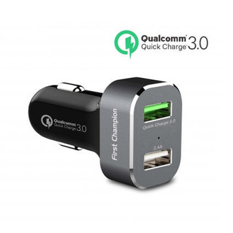 First Champion USB Car Charger - 2 USB Ports with QC 3.0