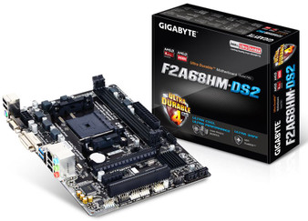 Gigabyte GA-F2A68HM-DS2 FM2+ mATX Motherboard A68 2xDDR3 2xPCIe PCI VGA DVI RAID GbE LAN 4xSATA3 2xUSB3 8xUSB2
