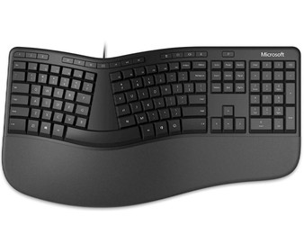 Microsoft Wired Ergonomic Keyboard with emojis, Retail Pack, Black