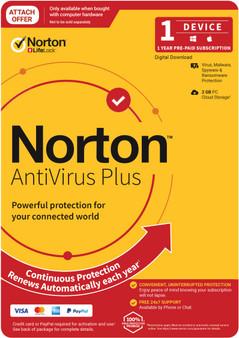 Norton Anti Virus Plus, 2GB, 1 User, 1 Devices, 12 Months, PC, MAC, An