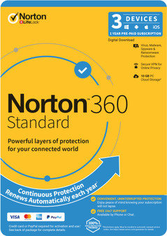 Norton 360 Standard, 10GB, 1 User, 3 Devices, 12 Months, PC, MAC, Andr