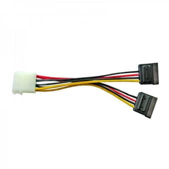 8Ware Molex Power Splitter Cable 15cm 1 x Molex Female to 2 x SATA III 15-Pin