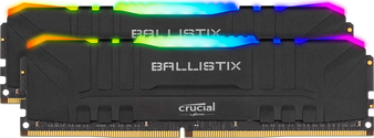 Crucial Ballistix RGB 32GB (2x16GB) DDR4 UDIMM 3200MHz CL16 Black Aluminum Heat Spreader Intel XMP2.0 AMD Ryzen Desktop PC Gaming Memory