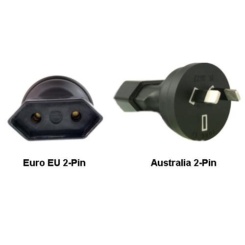 Euro EU to Australia 2-Pin Power Plug Adapter