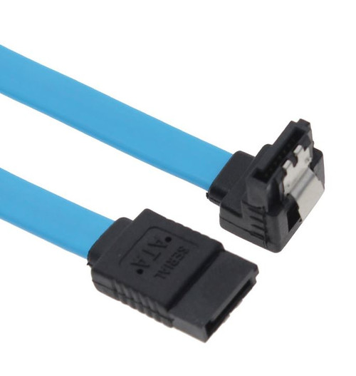 SATA 3.0 Data Cable 50cm Male to Male 180 to 90 Degree with Metal Lock  Blue